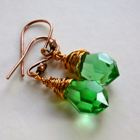 Sale Green Crystal Copper wired earrings