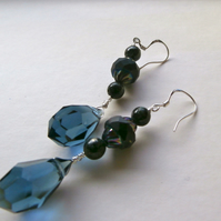 Sale Black and blue earrings danglers 925 silver ear wires.