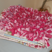 All in Pink Rose and Cupcake Rag Rug Recycled