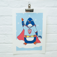 Super Hero Penguin - Adventure - Limited Edition Screen Print - SuperPenguin