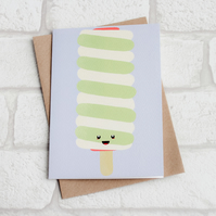 Cute Twister lolly ice cream greeting card