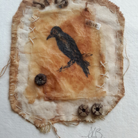 Textile teabag ink drawing, vintage style crow on a branch