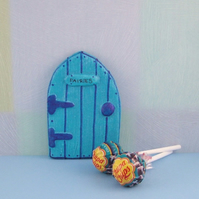 Handmade Blue Fairy Door For Fairies made by val