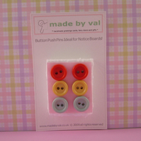 Six Recycled Button Push/ Drawing Pins Lovely Gift!