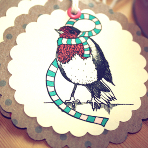 4 Warm Robin Gift Tags