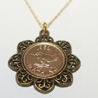 Floral Pendant 1955 65th Birthday Farthing & 18in Gold Plated Sterling Silver ch