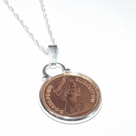 1980 British half pence coin pendant for 40th birthday plus a Sterling Silver 18