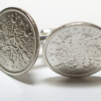 1929 Sixpence Cufflinks 90th birthday. Original sixpence coins Great gift from 1