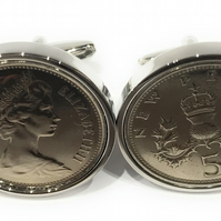 1969 50th Birthday Anniversary Old Large English 5p coin cufflinks - British Fiv