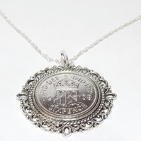 Fancy Pendant 1938 Lucky sixpence 81st Birthday plus a Sterling Silver 18in Chai