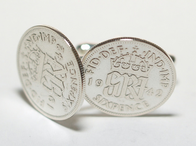 Sixpence for luck 1942 77th Birthday Cufflinks - 1942 genuine sixpence coin cuff