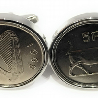 1969 50th Birthday Anniversary Old Large Irish 5p coin cufflinks - Irish Five Pe