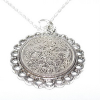 Fine Pendant 1959 Lucky sixpence 60th Birthday Sterling Silver 22in Chain, 60th