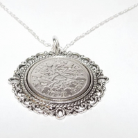 Fancy Pendant 1929 Lucky sixpence 92nd Birthday plus a Sterling Silver 18in Chai