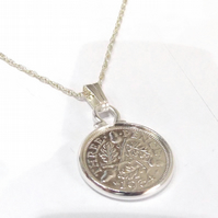 1934 85th Birthday Anniversary 3d Threepence coin pendant plus 18inch SS chain g