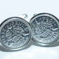 1935 Silver Threeepence Cufflinks 84th birthday, 84th birthday gift, 84th gift,