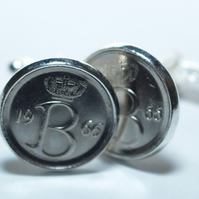1968 52nd Birthday Belgie 25 centimes Coin Cufflinks mounted in Silver Plated Cu