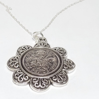 Floral Pendant 1930 Lucky sixpence 89th Birthday plus a Sterling Silver 18in Cha