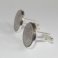 Luxury 1964 Sixpence Cufflinks for a 57th birthday. Original British sixpences