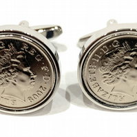 Premium 10th Anniversary Tin Wedding Anniversary 2009 coin cufflinks - for a wed