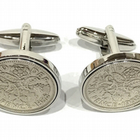 Premium 1954 Sixpence Cufflinks for a 67th birthday. Original british sixpences