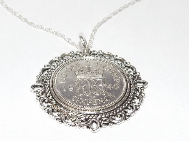 Fancy Pendant 1940 Lucky sixpence 79th Birthday plus a Sterling Silver 18in Chai