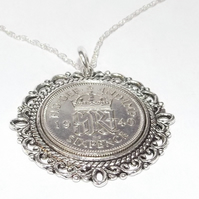 Fancy Pendant 1940 Lucky sixpence 80th Birthday plus a Sterling Silver 18in Chai