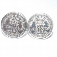 Luxury 1944 Sixpence Cufflinks for a 77th birthday. Original british sixpences i