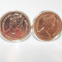 1984 36th Birthday Anniversary 1 pence coin cufflinks - One pence cufflinks from