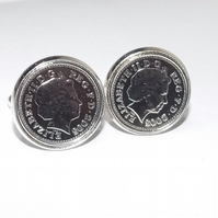 13th Anniversary Wedding Anniversary 2007 coin cufflinks - for a wedding in 2007