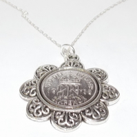 Floral Pendant 1938 Lucky sixpence 82nd Birthday plus a Sterling Silver 18in Cha