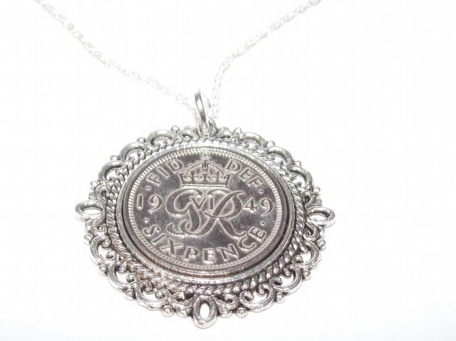 Fancy Pendant 1949 Lucky sixpence 70th Birthday plus a Sterling Silver 18in Chai
