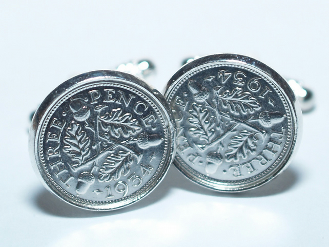 1934 Silver Threeepence Cufflinks 85th birthday. Original Silver threepence coin
