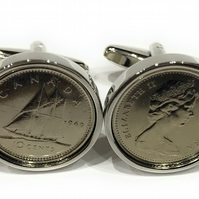1980 Canadian dime coin cufflinks, 1980 40th birthday, Mens Gift, 40th Mens Gift