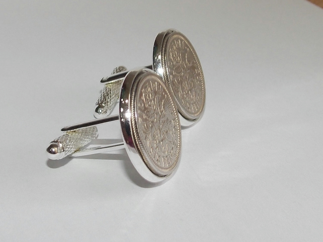 Luxury 1956 Sixpence Cufflinks for a 63rd birthday. Original british coin inset
