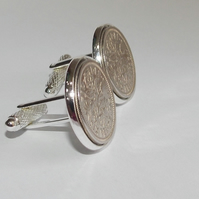 Luxury 1956 Sixpence Cufflinks for a 65th birthday. Original English coin inset