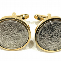 Premium Gold plated 1954 Sixpence Cufflinks for a 65th birthday. Original britis