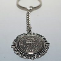 Fancy Pendant 1945 Lucky sixpence 75th Birthday on a keychain