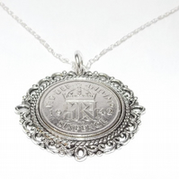 Fancy Pendant 1942 Lucky sixpence 77th Birthday plus a Sterling Silver 18in Chai