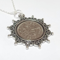 Star Pendant 1955 Lucky sixpence 65th Birthday plus a Sterling Silver 18in Chain