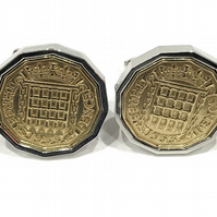 1959 Threepence 3d 60th birthday Cufflinks - Original 1959 threepence coin cuffl