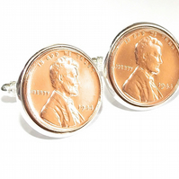Luxury 1967 52nd Birthday Anniversary 1 cent lincoln coin cufflinks