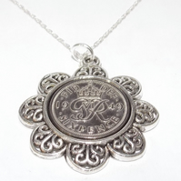 Floral Pendant 1949 Lucky sixpence 72nd Birthday plus a Sterling Silver 18in Cha