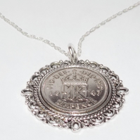 Fancy Pendant 1947 Lucky sixpence 74th Birthday plus a Sterling Silver 18in Chai