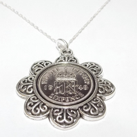 Floral Pendant 1949 Lucky sixpence 72nd Birthday plus a Sterling Silver 24in Cha
