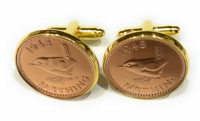 Luxury 1953 Farthing Cufflinks for a 66th birthday. Original british Farthings i
