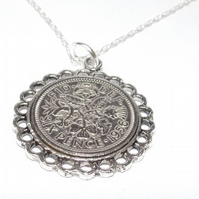 Fine Pendant 1955 Lucky sixpence 65th Birthday plus a Sterling Silver 18in Chain