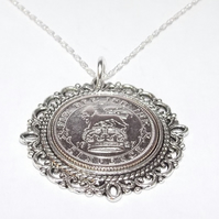 Fancy Pendant 1927 Lucky sixpence 93rd Birthday plus a Sterling Silver 18in Chai