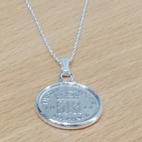 1945 75th Birthday Anniversary sixpence coin pendant plus 18inch SS chain, 74th