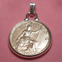 1927 93rd Birthday Anniversary Farthing coin in a Silver Plated Pendant mount an